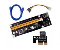 PCI-E 1X to 16X Riser Card + USB 3.0 Extender Cable with Power