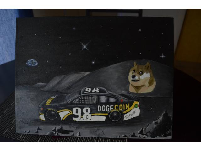 Hand Drawn Dogecoin Painting For Sale